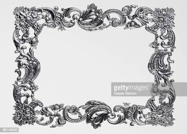 An ornate silver picture frame