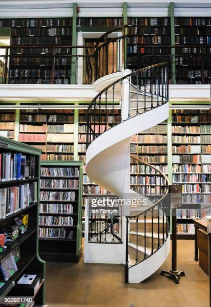 An ornate spiral staircase connect the floors inside the Leeds Library on January 9 2018 in Leeds England This year sees the 250th anniversary of the...