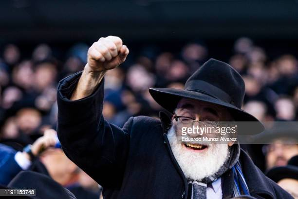 An Orthodox Jew attends the 13th Siyum HaShas a celebration marking the completion of the Daf Yomi at the MetLife Stadium on January 1 2020 in East...