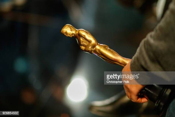 An Oscar Prop is held by a stand in Actor backstage during rehersals for the 90th Oscars at The Dolby Theatre on March 3, 2018 in Hollywood,...