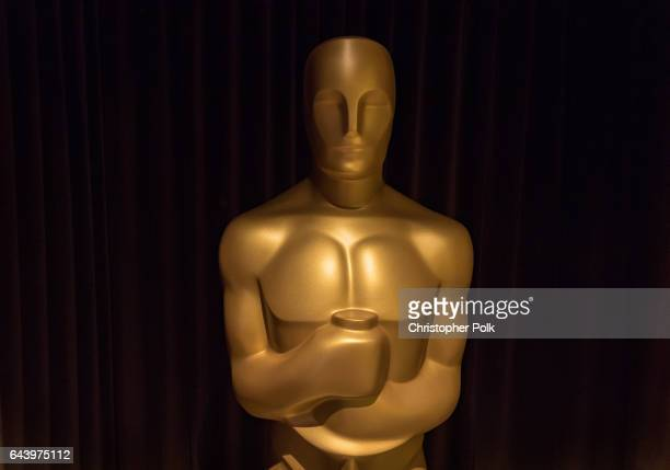 An Oscar Statue inside The Oscars Greenroom Designed By Rolex at The Ray Dolby Ballroom at Hollywood Highland Center on February 22 2017 in Hollywood...