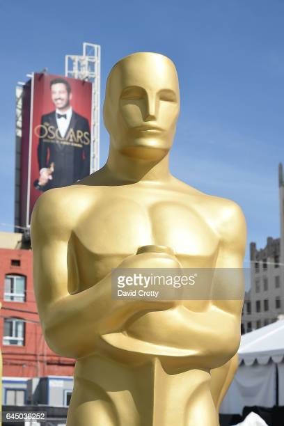 An Oscar statue is prepared during the set up for the 89th Academy Awards at Hollywood Highland Center on February 24 2017 in Hollywood California