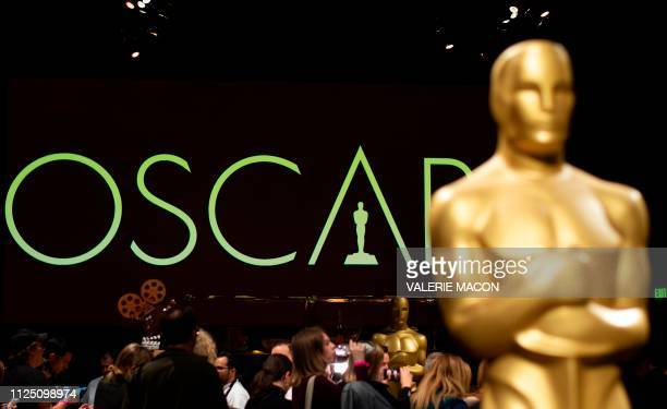 An Oscar statue stands during a preview for the Governors Ball during the 91st annual Academy Awards week in Hollywood on California February 15 2019