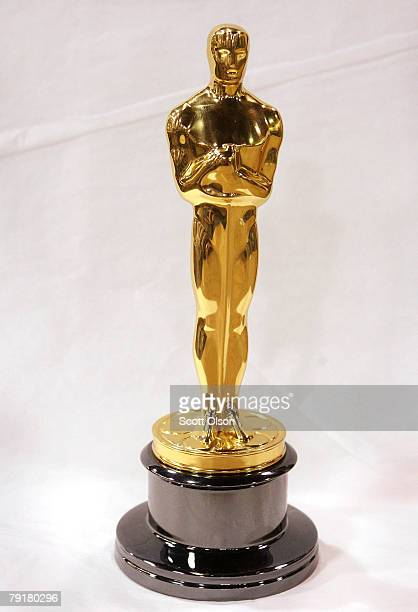 An Oscar statuette sits on a work bench at RS Owens Company January 23 2008 in Chicago Illinois RS Owens manufactures the Oscar statuettes which are...