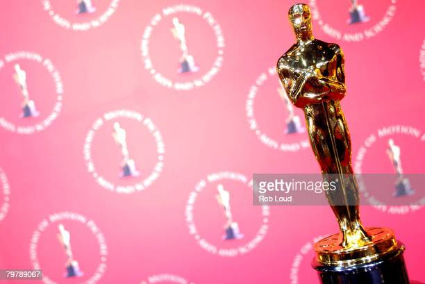 An Oscar trophy is seen at the 'Meet the Oscars' 50th Golden Statuettes press preview at Time Square Studios on February 15 2008 in New York City