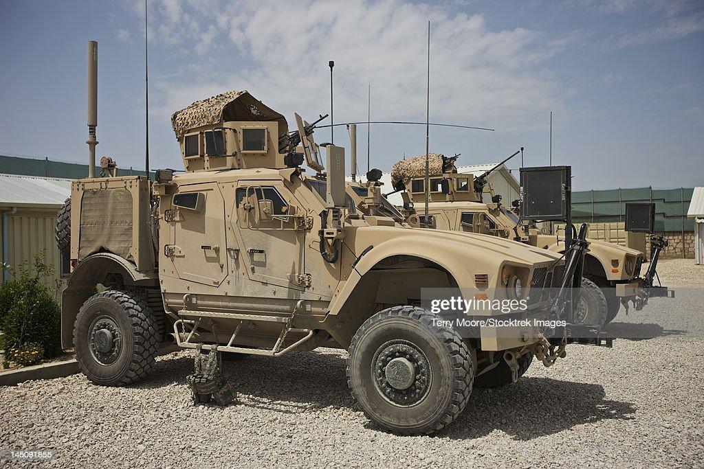 An Oshkosh Matv Mrap Parked At A Military Base In