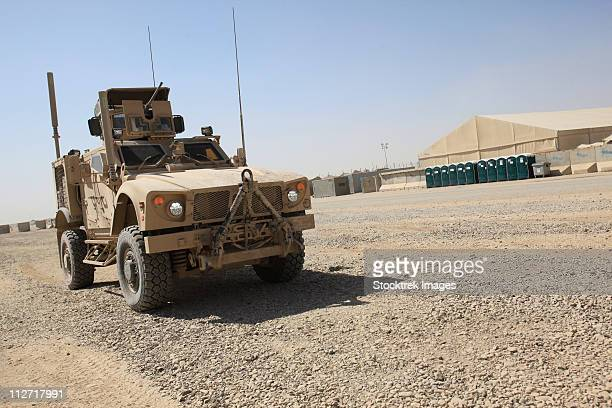 An Oshkosh M-ATV sits parked at Camp Leatherneck, Afghanistan.
