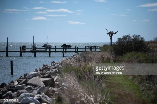 An osprey nest overlooks the Chesapeake Bay north of Dennis Point Lane in Shady Side Maryland on April 3 2020 Two boaters who went missing in the...