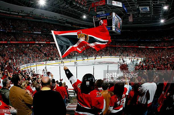 An Ottawa Senators fan waves a flag in support of their team prior to the start of Game 4 of the 2007 Eastern Conference Finals against the Buffalo...