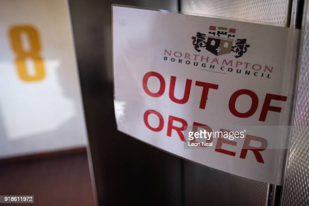 An Out of Order sign is seen on a lift in the town centre on February 15 2018 in Northampton United Kingdom Northamptonshire County Council has...