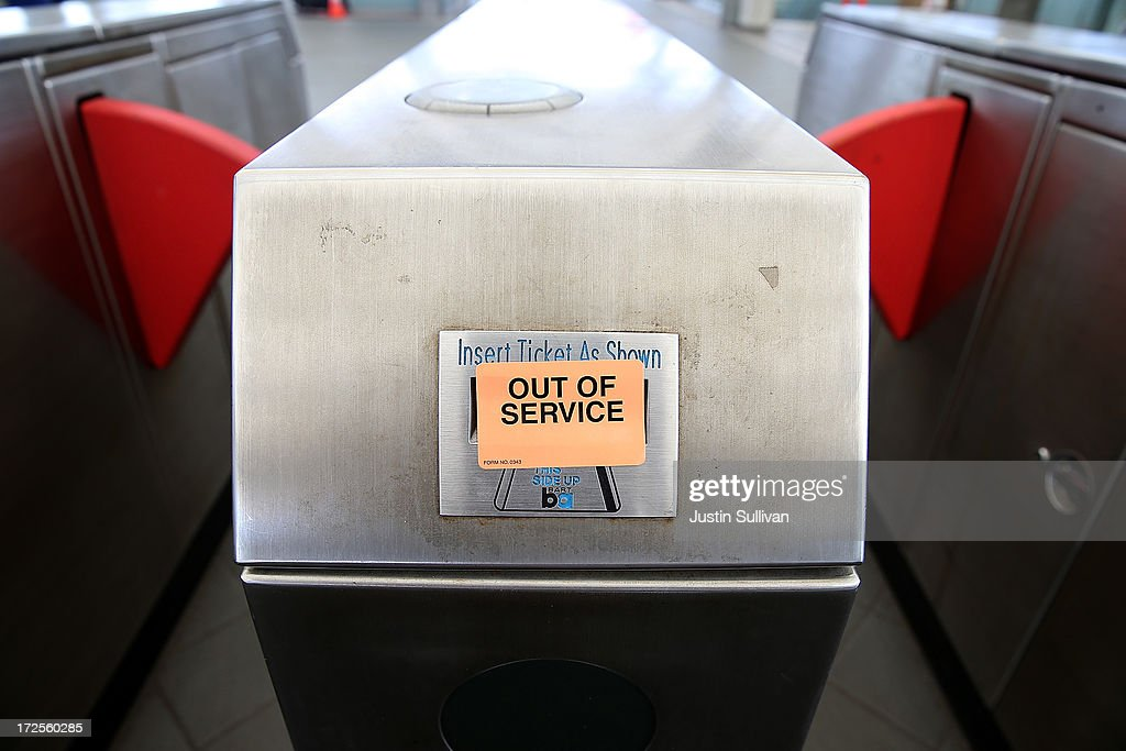 An out of service sign is posted on a pay gate at the Bay Area Rapid Transit (BART) Millbrae station on July 3, 2013 in Millbrae, California. For a third day, hundreds of thousands of San Francisco Bay Area commuters are scrambling to find ways to work as two of San Francisco Bay Area Rapid Transit's (BART) largest unions remain on strike while they continue contract negotiations with management. Train operators, mechanics, station agents and maintenance workers are seeking a five percent wage increase and are fighting management who want to have workers to begin contributing to their pensions, pay more for health insurance and reduce overtime expenses.