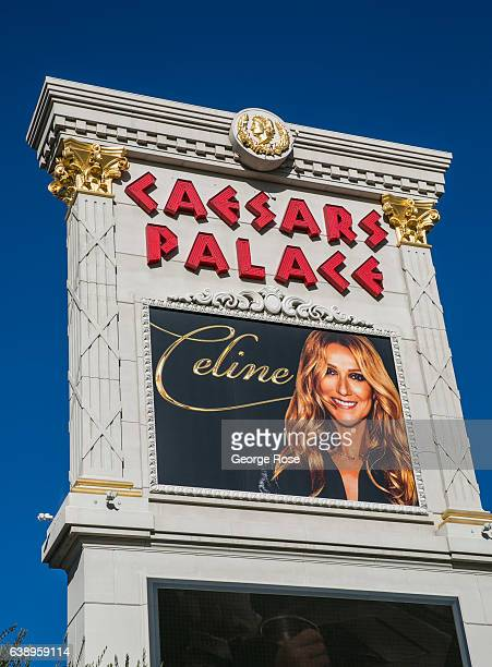 An outdoor billboard at Caesars Palace Hotel Casino promotes singer Celine Dion as viewed on January 3 2017 in Las Vegas Nevada Tourism in America's...