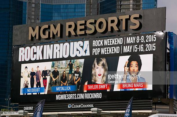 An outdoor billboard promoting Rock in Rio USA featuring Taylor Swift and Bruno Mars is viewed on May 17 2015 in Las Vegas Nevada Tourism in...
