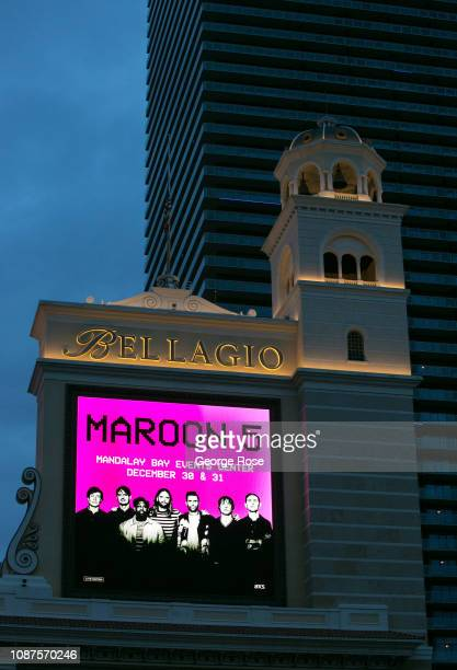 An outdoor electronic billboard at the Bellagio Hotel Casino promotes a Maroon 5 concert on December 17 2018 in Las Vegas Nevada During the Christmas...