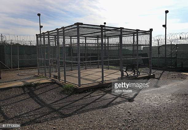 An outdoor recreation area stands within the Gitmo maximum security detention center on October 22 2016 at the US Naval Station at Guantanamo Bay...