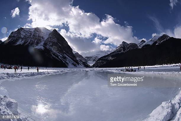 An outdoor shinny hockey rink after a fresh flood was completed during the 7th Annual Lake Louise Pond Hockey Classic on the frozen surface of Lake...