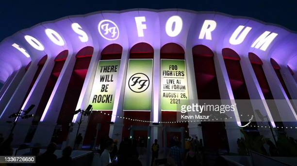 An outdoor view Foo Fighters signage as they perform at The Forum on August 26, 2021 in Inglewood, California.