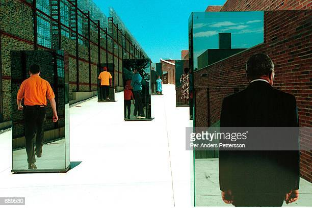 An outdoors display is shown at the Apartheid Museum December 19 2001 in Johannesburg South Africa The museum covers a part of South African history...
