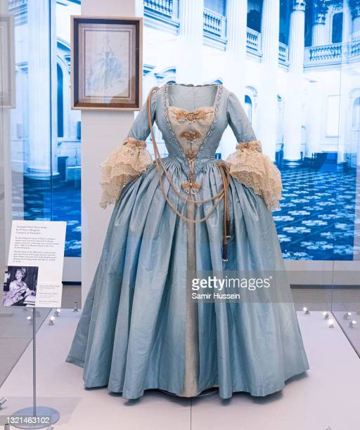 """An outfit worn by Princess Margaret on display during the """"Royal Style In The Making"""" exhibition photocall at Kensington Palace on June 02, 2021 in..."""