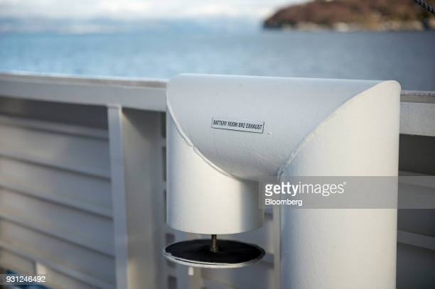 An outlet exhaust pipe from the MF Ampere a zeroemissions ferry sits on deck as the ferry sails between the villages of Oppedal and Lavik along the...