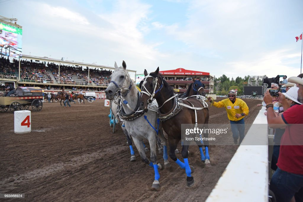 An Outrider Competes In The Gmc Rangeland Derby Chuckwagon