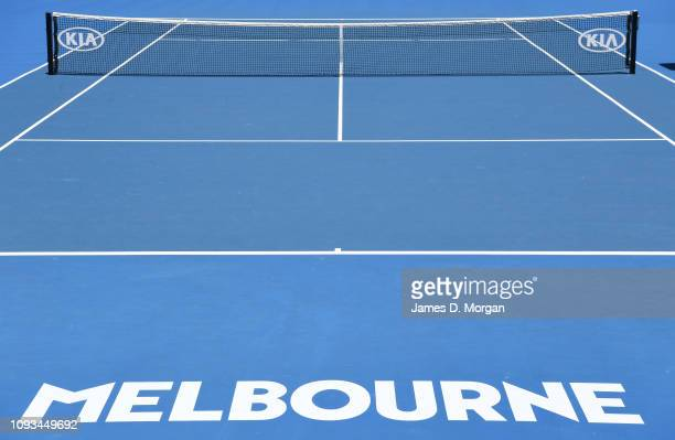 An outside court ready for action ahead of day one of the Australian Open at Melbourne Park on January 13, 2019 in Melbourne, Australia.