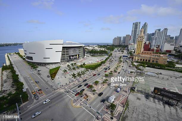 An outside overview of the arena before Game Seven of the 2013 NBA Finals between the Miami Heat and the San Antonio Spurs on June 20 2013 at...