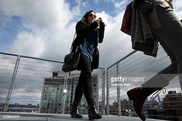 An outside terrace is viewed at the relocated Whitney Museum of American Art in Manhattan's meatpacking district on April 23 2015 in New York City...