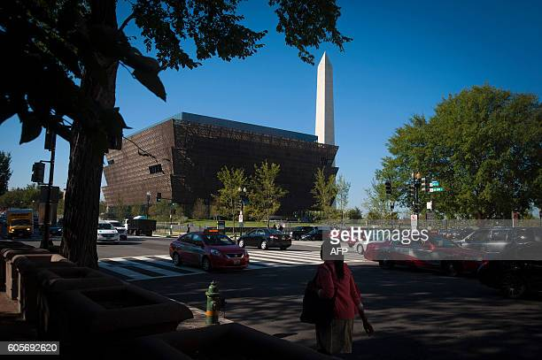 An outside view is seen during a press preview at the Smithsonian's National Museum of African American History and Culture in Washington DC on...
