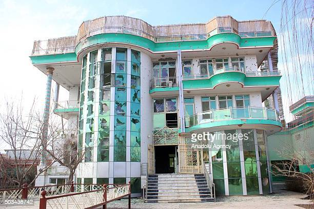 An outside view of a damaged villa where the assailants who mounted an attack from a building close to the Indian consulate hid in MazariSharif...