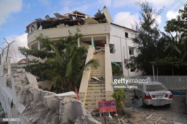 An outside view of a hotel which is located near the site after bombladen vehicle attack by AlShabaab militants to a restaurant in Mogadishu Somalia...
