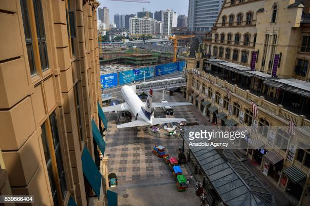 An outside view of a restaurant which is converted from a Boeing 737 is seen at Guanggu Walking Street in Wuhan of Hubei Province China on August 27...