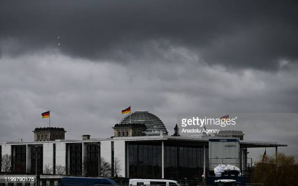 An outside view of Berlin Central Train Station on February 10 2020 in Berlin Germany as a heavy storm 'Sabine' is forecasted Germany hunkered down...