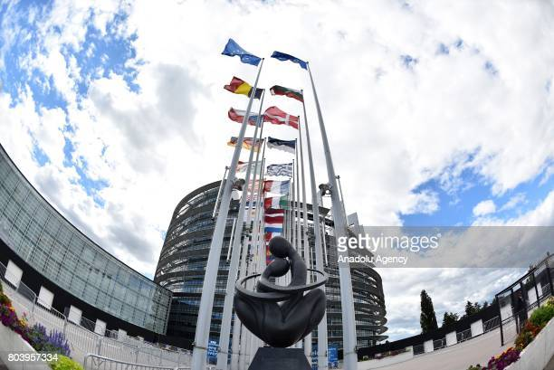 An outside view of European Parliament building ahead of the memorial ceremony for former German Chancellor Helmut Kohl in Strasbourg France on June...
