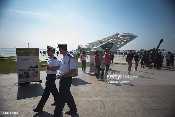 An outside view of Maracana stadium in Rio de Janeiro Brazil as the preparations for the Olympics continue on June 25 2016 More than 10500 athletes...
