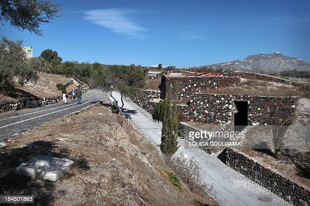An outside view of one of Greece's most famous archaeological sites, the prehistoric town of Akrotiri on the island of Santorini, which reopened in...