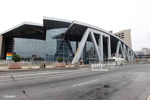 An outside view of Philips Arena prior to the game between the Atlanta Thrashers and the Ottawa Senators on March 27, 2011 in Atlanta, Georgia. The...