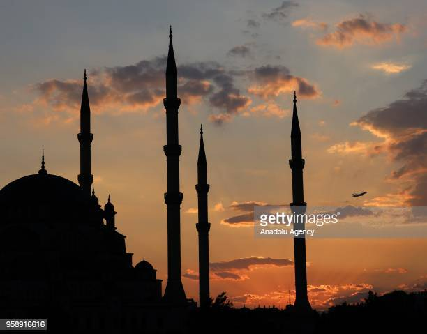 An outside view of Sabanci Central Mosque is seen during the first 'tarawih' prayer on the eve of holy fasting month of Ramadan Turkey's Adana...
