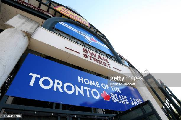 An outside view of Sahlen Field before an MLB game between the Toronto Blue Jays and the Tampa Bay Rays on August 14, 2020 in Buffalo, New York. The...