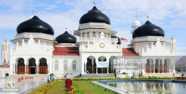 An outside view of the Baiturrahman Grand Mosque which was built in 1612 during the reign of Aceh Sultan Iskandar Muda in Aceh Indonesia on June 06...