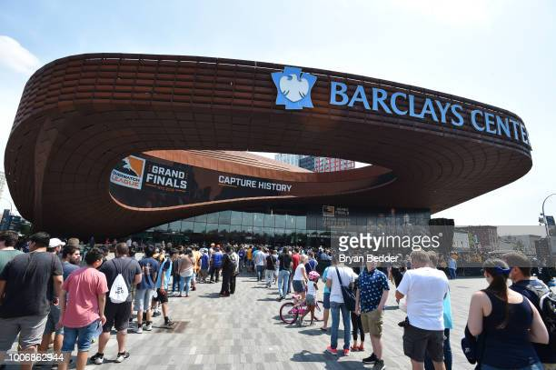 An outside view of the Barclays Center during Overwatch League Grand Finals Day 2 at Barclays Center on July 28 2018 in New York City