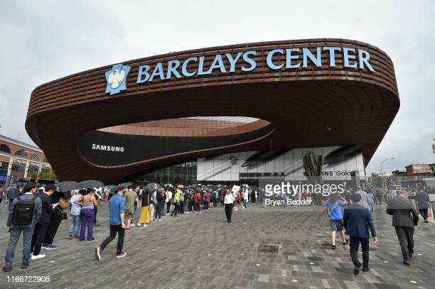An outside view of the Barclays Center during Samsung Unpacked New York City at Barclays Center at Barclays Center on August 07 2019 in New York City
