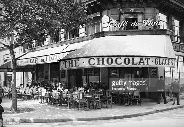 An outside view of the Cafe de Flore in Paris.