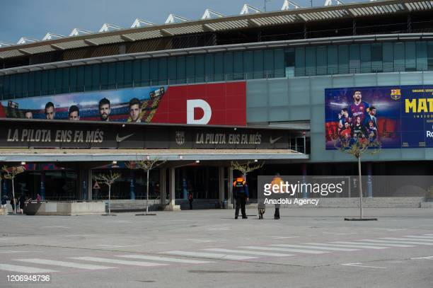 An outside view of the Camp Nou Stadium is seen in Barcelona Spain after Spain's government declared state of emergency over the rapid spread of the...