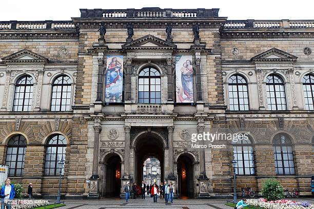 An outside view of the exhibition 'Himmlischer Glanz' with 'The Sistine Madonna' and 'Madonna Di Foligno' put next to each other through the...