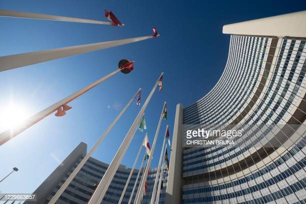 An outside view of the International Atomic Energy Agency headquarters taken ahead of a virtual IAEA Board of Governors' meeting at the IAEA...