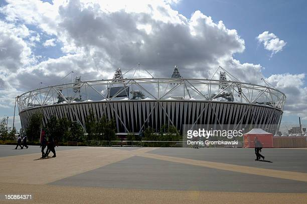 An outside view of the Olympic Stadium is pictured ahead of the London 2012 Paralympic Games on August 28 2012 in London England
