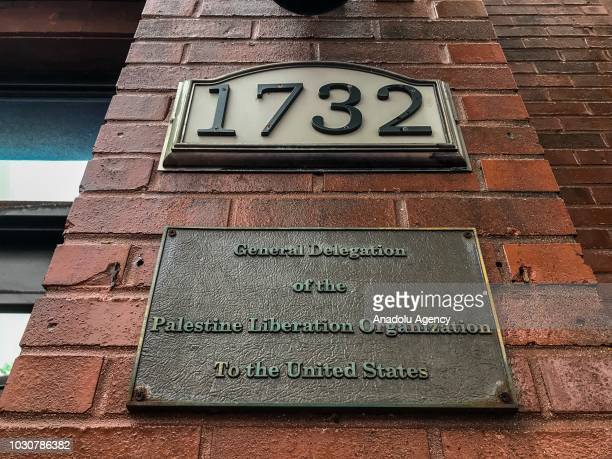 An outside view of the Palestine Liberation Organization's office in Washington United States on September 10 2018 he US on Monday announced the...