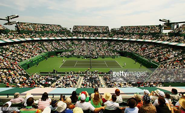 An ovehead view of Stadium court as Roger Federer of Switzerland and Ivan Ljubicic of Croatia play in the men's final of the Nasdaq-100 Open at the...