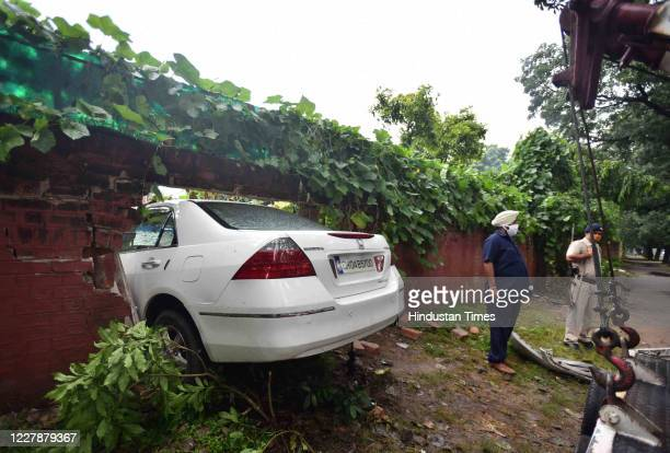 An over speeding car broke a boundary wall and crashed into a house in Sector 19 on August 1 2020 in Chandigarh India